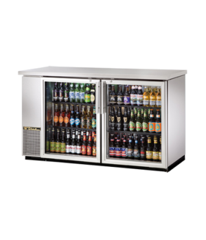 "Back Bar Cooler, two-section, 24"" deep, 35-3/8"" high, (72) 6-packs or (3) 1/2 ke"