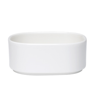 "Bowl, 11 oz., 4-3/4""L x 4""W, oval, stackable, white, premium porcelain, Universa"