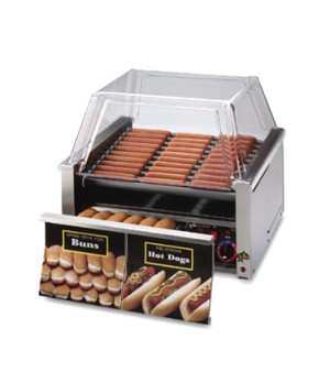 Star Grill-Max® Hot Dog Grill, roller-type, built-in unheated bun drawer, chrome