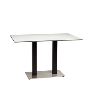 "Contemporary Pedestal Base, double, 16"" x 28"" rectangular stainless steel plate,"