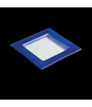 "Specialty Plate, 6-3/4"", square, glass, blue border, Creations (USA stock item)"