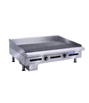 "Griddle, countertop, gas, 36"" W x 24"" D cooking surface, 1"" thick grooved plate,"