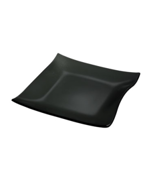 "Plate, 11"", square, glass, black, Cera"