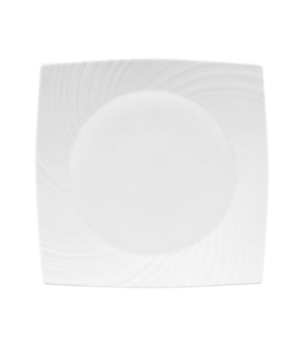 "Ethereal Plate, 11"", square, dishwasher safe, bone china, white"