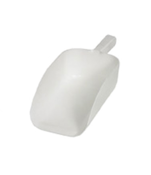 Scoop, 64 oz., one-piece, flat bottom, dishwasher safe, plastic, white