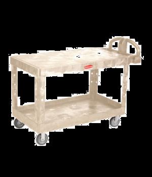 "Heavy Duty Flat Shelf Cart, large, 700 lb. total capacity, 5"" TPR, beige"