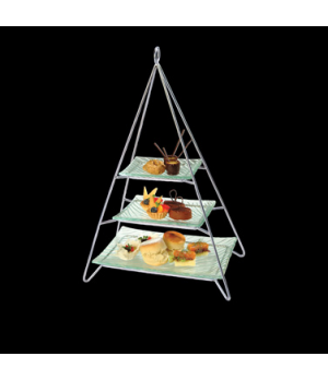 "Afternoon Tea Stand Set, 3 tier with glass plates, 13"" x 8-1/4 x 20-1/4"", 18/10"