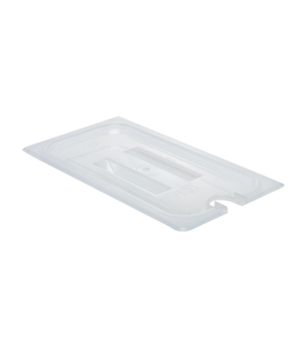 Food Pan Cover, 1/3 size, notched, with handle, translucent polypropylene, NSF