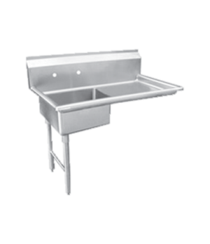 "(28484) Dishtable, soiled, 48""W, left side, with sink, stainless steel"