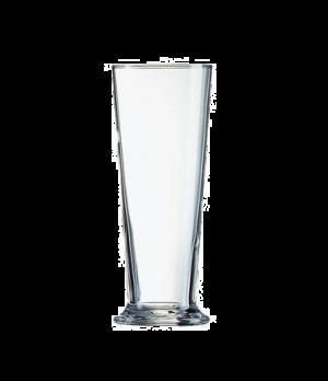 "Pilsner Glass, 18-1/2 oz., Arcoroc, Linz (H 7-1/2""; T 3-1/8""; B 3-1/4""; M 3-1/4"""