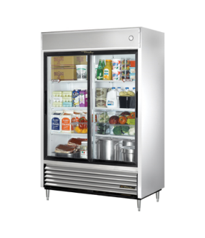 Refrigerator, Reach-in, (2) glass sliding doors, stainless steel front, aluminum