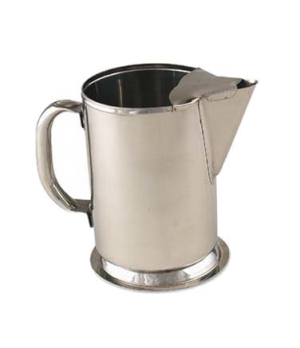 "Water Pitcher, 64 oz., 5"" x 9""H, with guard, gadroon base, stainless steel"