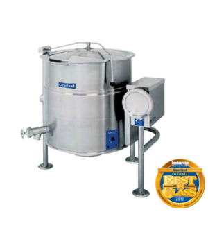 Kettle, Electric, Tilting, 100-gallon capacity, 2/3 steam jacket design, open tr