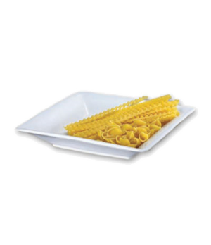 "Platter, 12"" x 2"", square, ceramic, bright white"