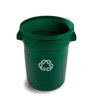 "Brute® Recycling Container, 32 gallon, 24""W x 20""D x 59""H, with out lid, green ("