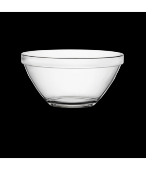 "Bowl, 19 oz., 5-1/2"" dia. x 2-3/4""H, round, stackable, tempered, glass, clear, B"