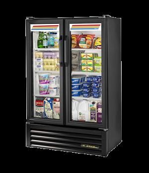 Slim Line Refrigerated Merchandiser, two-section, (4) shelves, black vinyl exter