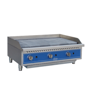 "Charbroiler, gas, char rock, countertop, 36"" wide, heavy-duty reversible cast ir"
