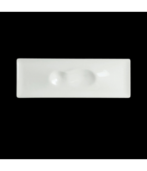 "Landscape Crater Plate, 12-5/8"" x 4-3/8"", rectangular, narrow rim, porcelain, Cr"