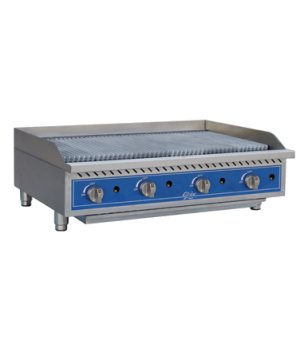 "Charbroiler, gas, radiant, countertop, 48"" wide, heavy-duty reversible cast-iron"
