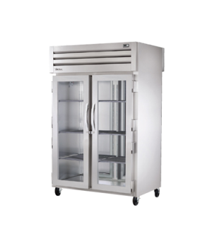 SPEC SERIES® Pass-thru Refrigerator, two-section, stainless steel front & sides,