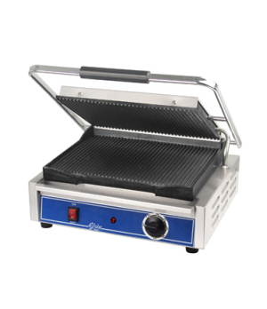 Panini Grill, 14''x10'', seasoned cast iron grooved griddle plates, stainless st