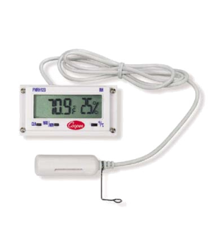 "Thermometer, electronic panel type, 2.7 x 1.4 x 1.1"" (6.9 x 3.6 x 2.8 cm), 10 to"