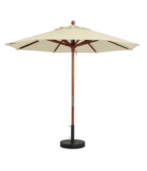 "Market Umbrella, 7 ft, 1-1/2"" wooden pole, Outdura fabric, khaki"