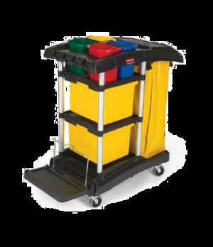 "Hygen™ Microfiber Janitor Cart, 48-1/4"" L x 22"" W x 44"" H, folding microfiber bu"