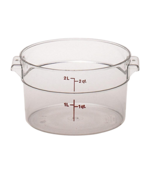 "Storage Container, round, 2 qt., 8-3/16"" dia. x 4-3/16""H, natural white, polyeth"
