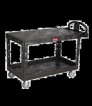 "Heavy Duty Flat Shelf Cart, large, 700 lb. total capacity, 5"" TPR, black"