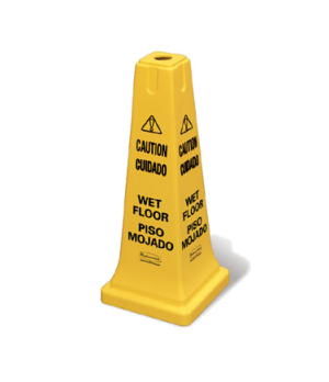 "Safety Cone, multi-lingual ""caution, wet floor"", 10-1/2""L x 10-1/2""W x 25-3/4"","
