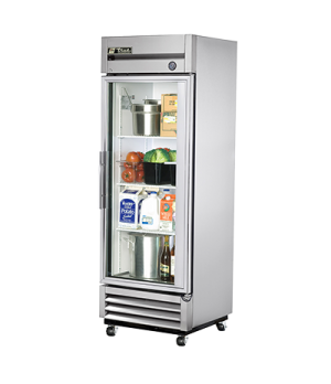 Refrigerator, Reach-in, one-section, glass door, stainless steel front, aluminum