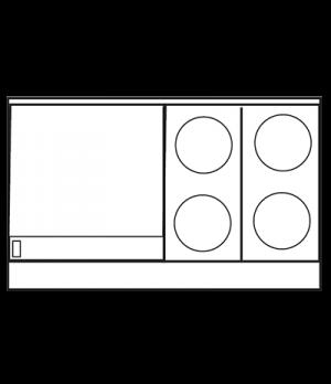 "Restaurant Range, electric, 48"", (4) round elements, (1) 24"" thermostatic griddl"