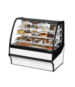 "Display Merchandiser, Refrigerated, 48-1/4""L, curved glass front, glass ends, (3"