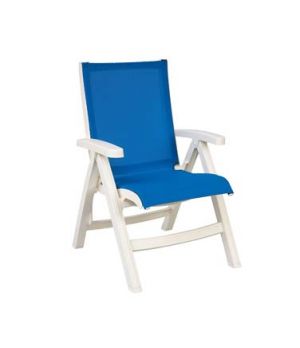 Belize Midback Folding Chair, stackable, designed for outdoor use, sling, white