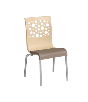 Tempo Stacking Side Chair, resin back with circles cutout, resin seat, tubular s