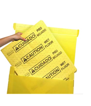 """Over-the-Spill™ Station Pads, multi-lingual, """"caution wet floor"""", large, 20"""" L x"""
