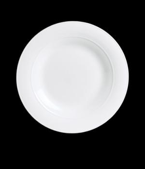 "Plate, 10-1/2"" dia., round, mid rim, porcelain, Aura, Rene Ozorio (USA stock ite"