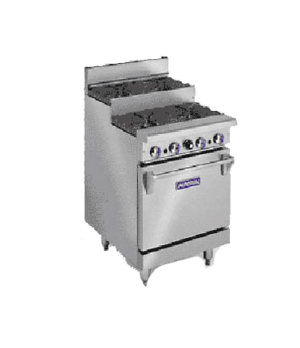 "Restaurant Range, gas, 24"", (2) open burners, (2) step-up open burners, space sa"