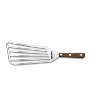 "Chefs Jumbo Fish Turner, 4"" x 9 "", slotted, wood handle"