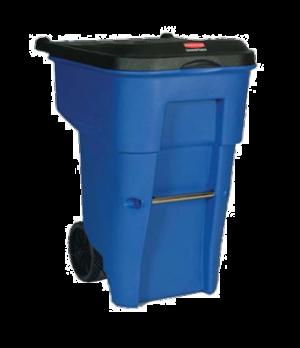 "Brute® Rollout Container, 65 gallon, 32-1/3"" x 25-1/3"" x 41-4/5"" H, blue"