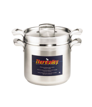 "Thermalloy® Double Boiler, 16 qt., 11"" dia., with insert & cover, oversized sta"
