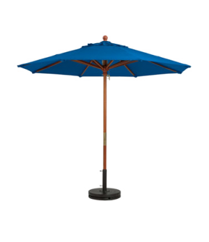 "Market Umbrella, 9 ft, 1-1/2"" wooden pole, Outdura fabric, Pacific blue"
