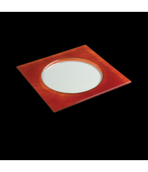 "Halo Specialty Plate, 11-1/2"", square, glass, red, Creations (USA stock item) (m"