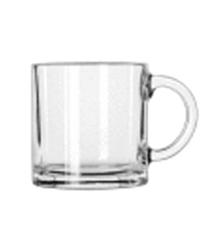 "Mug, 7 oz., glass, Monderno (H 3""; T 2-3/4""; B 2-3/4""; D 4"")"
