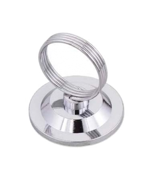 "Menu/Card Holder, 2-1/4"" base x 2-1/2""H, heavy base, nickel-plated spring wire"