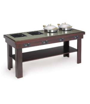 "Buffet Table with Induction Warmers, 76"" x 30"", available in 34"" or 36"" heights,"