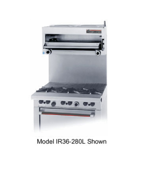 "Salamander Broiler, gas, 36"" W, for 60"" Restaurant Range, 24"" high shelf (broile"