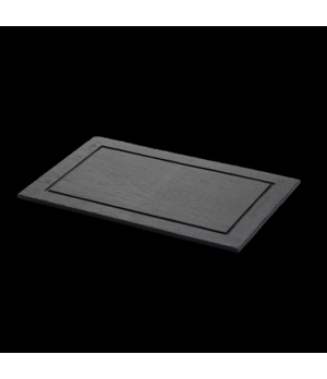 "Maincourse Plate, 12-5/8"" X 8-1/2"", rectangular, fine, grooved border, with feet"
